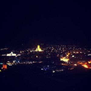 Tbilisi at night from Hotel Bany. Gorgeous views! But what else would you expect when you hike up half a mountain to get to reception?